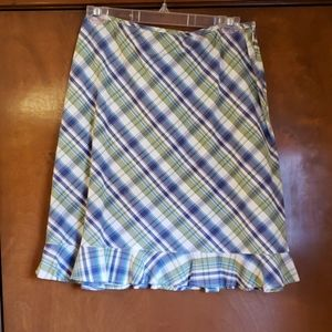 Blue/green plaid skirt